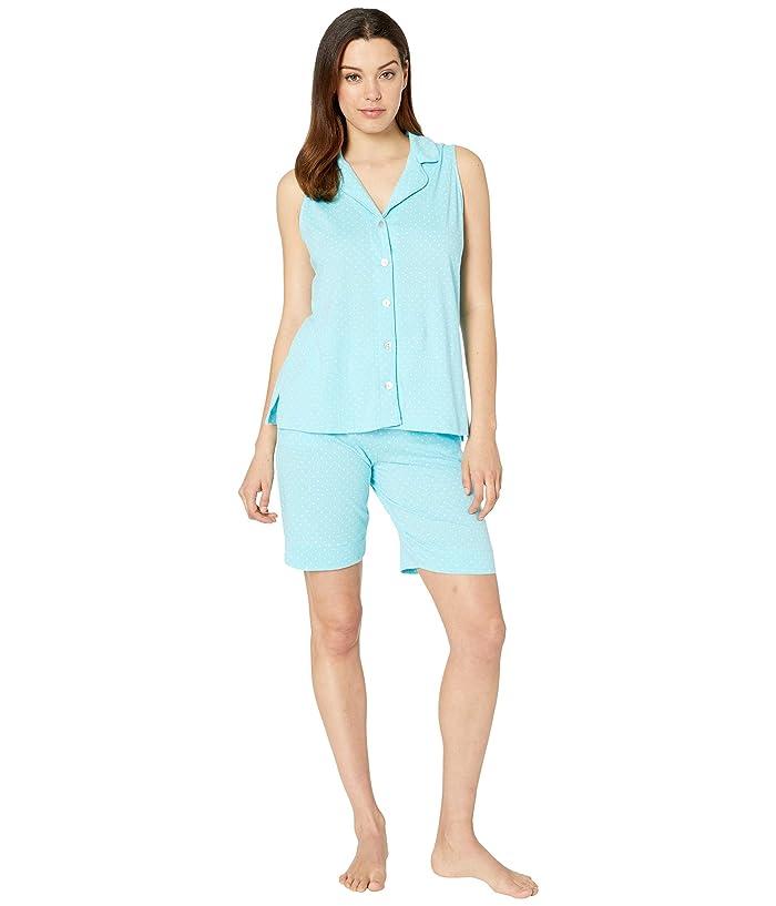 Carole Hochman Sleeveless Notch Collar Bermuda Pajama Set (Aqua Dot) Women