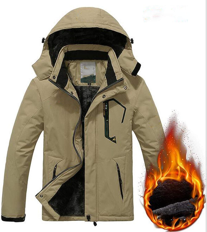 LNYF-OV Outdoor-Jacken, warm und SAMT wasserdicht Skianzug Reiten Windbreaker, Mnner Adult, Khaki