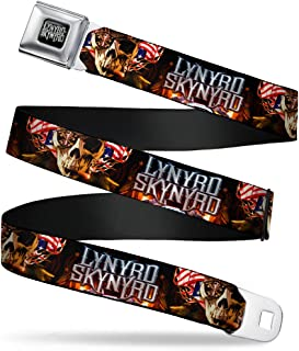 Buckle-Down Seatbelt Belt - LYNARD SKYNARD Smoking Skull/US Flag Flames - 1.5