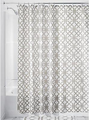 "iDesign Trellis Fabric Shower Curtain - 72"" x 72"", Stone Gray/White"