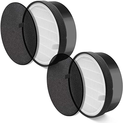 LEVOIT LV-H132-RF 2 Pack Replacement, 3-in-1 Nylon Pre, True HEPA, High-Efficiency Activated Carbon Filter, Black, 2 ...