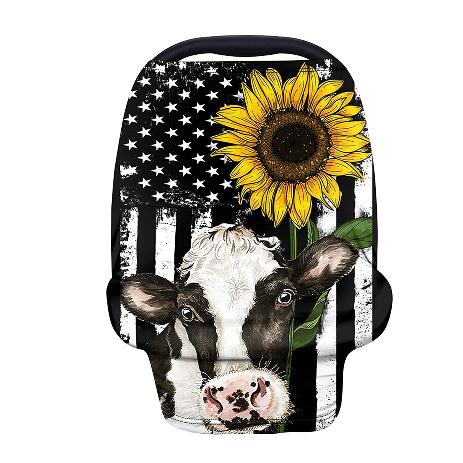 HUIACONG Baby Car Seat Covers for Girls Sunflower Cow Infant Carseat Cover Canopy Babies Boys American Flag Stripe Nursing Cover for Breastfeeding Scarf Breathable