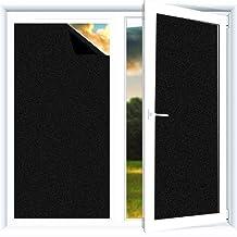 Landove Black Window Film Frosted Privacy Non-Adhesive Glass Film Light Blocking Film Blackout Dark Window Tinting Film 45...