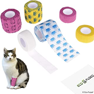Eco-Fused Self Adhering Bandage - Injury Wrap Tape for Pets (Dogs Cats Horses) - Pack of 6 - Supports Muscles and Joints - Does not Stick to Hair – Elastic Water Repellent Breathable - Relieves Stress