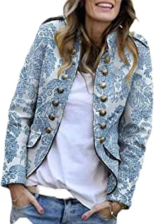 Women Casual Button Design Open Front Long Sleeve Blazer Jacket Coat Cardigan