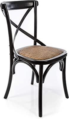 Boho Traders Back Chair with Solid Rattan Seat, Distressed Black