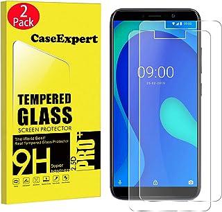 CaseExpert 2-pack - Wiko Y80 härdat glas, härdat glas kristallklart skärmskydd skydd och putsduk för Wiko Y80