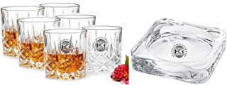King International Glass Crystal Straight Whisky with Ash Tray Set, 7 Piece, Clear
