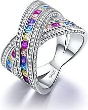 Zetaur Women's 925 Sterling Silver Princess Cut Created Rainbow Topaz Brilliant Ring