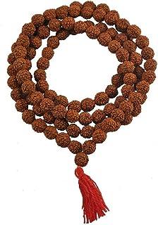 Ramneek jewels Divya Shakti Panch Mukhi Rudraksh Mala in 108+1 Beads (7 MM)