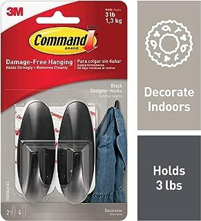 Command Designer Hooks, Holds 3 lbs, Black, Decorate Damage-Free (17081BLK-ES)