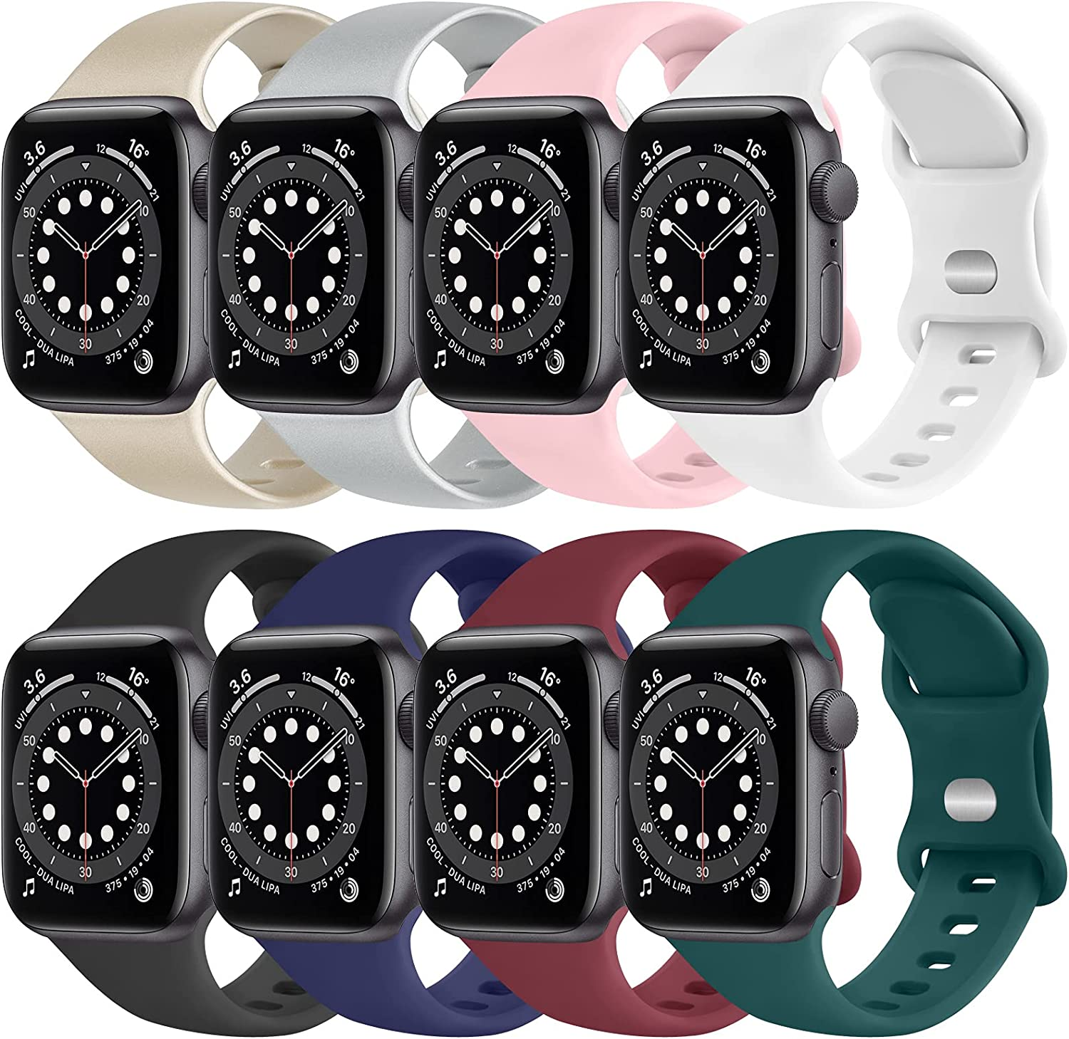 [8 PACK] Silicone Bands Compatible with Apple Watch Series 6 5 4 3 2 1 & iWatch SE for Women Men, Soft Strap Replacement for Apple Watch Bands 44mm 42mm
