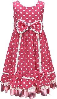 天使のドレス屋さん キッズドレス 子供ドレス 110cm 120cm 140cm 水玉 ピンク ドット リボン フリル 女の子 衣装 ストロベリーパーティー カチューシャ付き HT7065