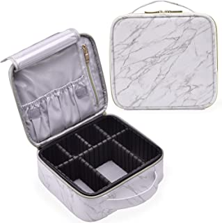 (Marble) - Marble Leather Makeup Case Cosmetic Bag PU Leather Makeup Organisers Storage Portable Brush Holder with Adjusta...