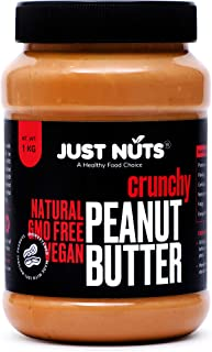 Just Nuts All Natural Crunchy Peanut Butter 1 kg (Unsweetened, Non-GMO, Gluten Free, Vegan)