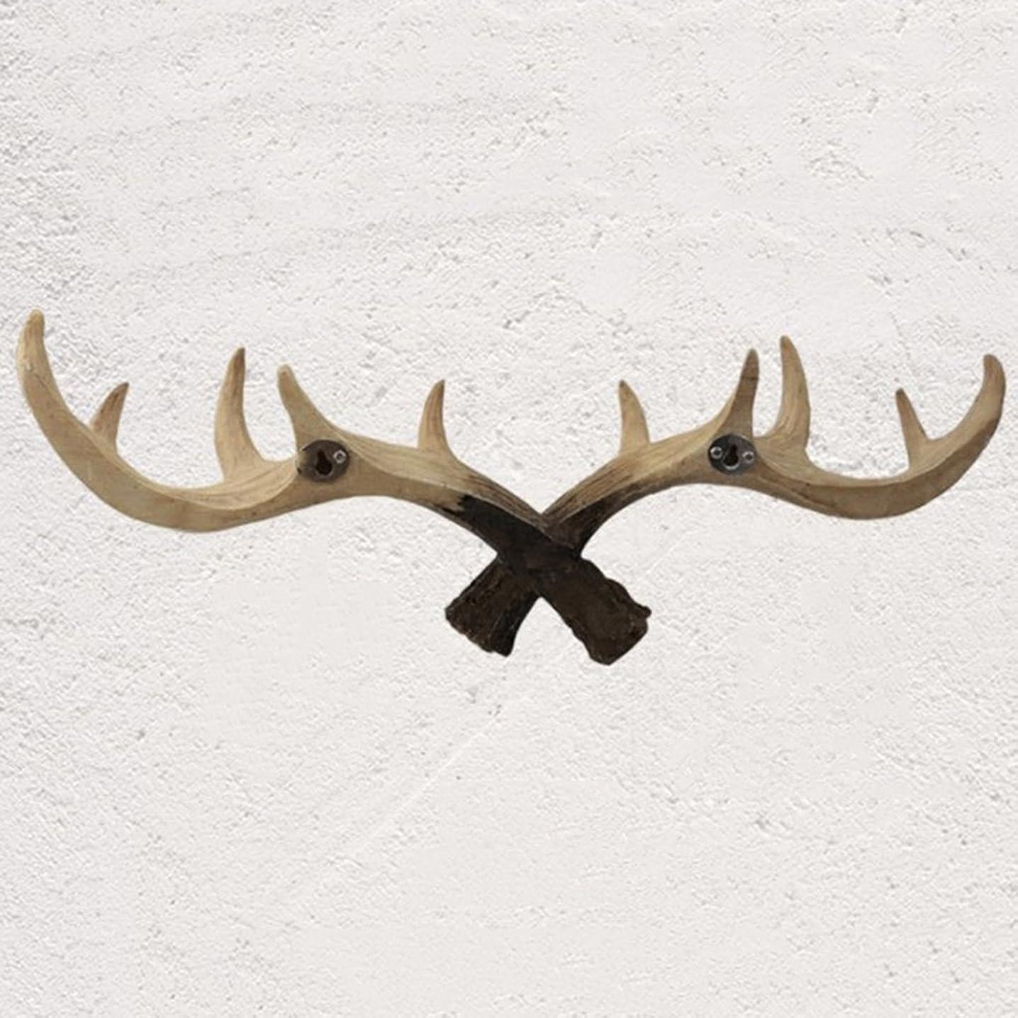 試用腐敗樫の木WZ フックアップ - フックアップ服フックレトロソリッドウッドアントラーフックウォールデコレーションコートフック(サイズ50X18CM) 装飾用壁フック (Color : B)