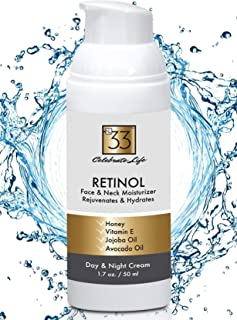 Retinol Moisturizer Face and Neck Cream To Visibly Rejuvenate and Reduce Wrinkles. Use Day and Night to Hydrate and Firm Facial Skin w/Vitamins and Essential Oils. Anti-Aging 1.7 oz. by No.33
