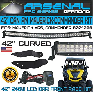 """Pro Can Am Maverick XRS Commander 800 1000 42"""" Curved Front LED Light Bar Kit with Front Mounts and Wire Harness"""