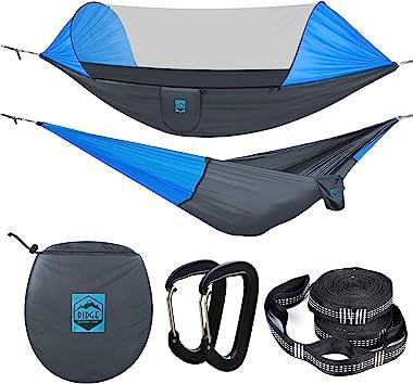 Ridge Outdoor Gear Camping Hammock with Mosquito Net - Ripstop Nylon - Ultralight Hammock Tent Bundle with Bug Netting, Strap