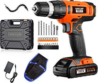 Cordless Drill Driver Lomvum 20V Power Drill with Lithium-ion Batterry, 1 Faster Charger, 2-Speed 3/8