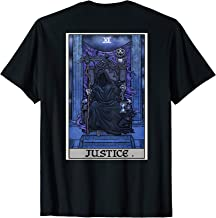 Justice Tarot Card Grim Reaper Halloween Gothic Back Print T-Shirt