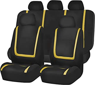 FH Group FH-FB032115 Unique Flat Cloth Seat Cover w. 5 Detachable Headrests and Solid Bench Yellow/Black- Fit Most Car, Truck, SUV, or Van