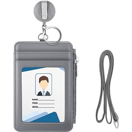MoKo Porte-Badge en PU Cuir, Porte-Cartes d'Identité avec Poche Fermeture à Glissière, Fentes de Cartes, Badge Rétractable, Porte-Clés pour ID du Bureau, Permis de Conduire, Gris