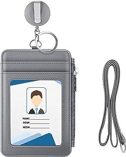 MoKo Porte-Badge en PU Cuir, Porte-Cartes d'Identité avec Poche Fermeture à Glissière, Fentes de Cartes, Badge Rétractabl...