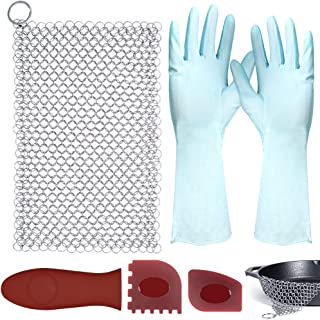 """SITAKE 5 Pcs Cast Iron Cleaner Set, Including 1 Pc 8""""x6""""Stainless Steel Chainmail Scrubber, 1 Pc Hot Handle Holder, 2 Pcs..."""