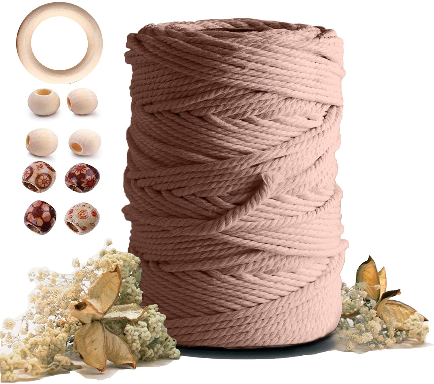 Macrame Cotton Cord 5mmx109 Yard 4 Strand,Artstudy Natural Handmade 4 Twisted Cotton Rope for Wall Hanging Weaving Tapestry DIY Craft Knitting Plant Hanger Gift Wrapping Wedding Decor(100m, Brick Red)
