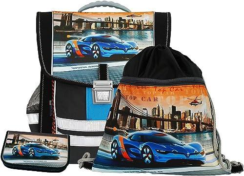 Coole Schultasche Top Car mit Federm chen und Turnbeutel