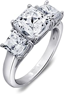 Sterling Silver Cubic Zirconia 3-Stone Square Radiant Cut Ring