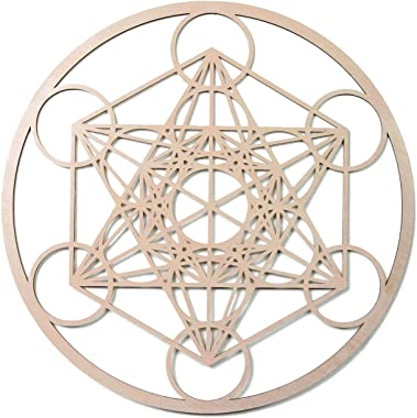"""33"""" Metatron's Cube, Wooden Wall Art Hanging Home Decor, Sacred Geometry Art, Wood Sculpture, Wall Decorations, USA Made Geometric, Fourth Level Mfg. Designs"""
