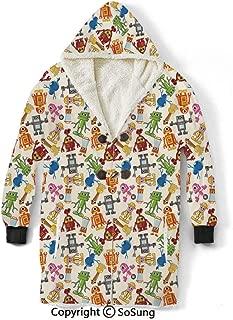 Kids Blanket Sweatshirt,Colorful Cartoon Robot Collection Boys Nursery Theme Futuristic Fantastic Science Toys Wearable Sherpa Hoodie,Warm,Soft,Cozy,XXL,for Adults Men Women Teens Friends,Multicolor