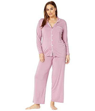 Kickee Pants Plus Size Collared Pajama Set (Pegasus/Natural) Women