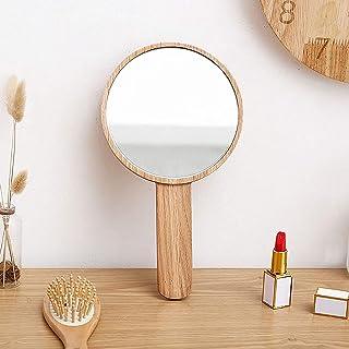 Handheld Mirror with Handle, Hand Held HD Mirror Wooden Frame Salon Hairdresser Plain Mirror Retro Style Cosmetic Salon Ma...