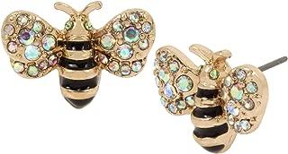 Women's Bumble Bee Stud Earrings, Yellow, One Size