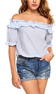 ELESOL Women Off Shoulder Vintage Peasant Blouse Lace Ruffle Smocked Waist Boho Tops Shirts