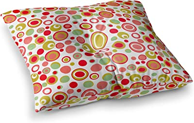 23 x 23 Square Floor Pillow Kess InHouse Frederic Levy-Hadida Bubbling Red
