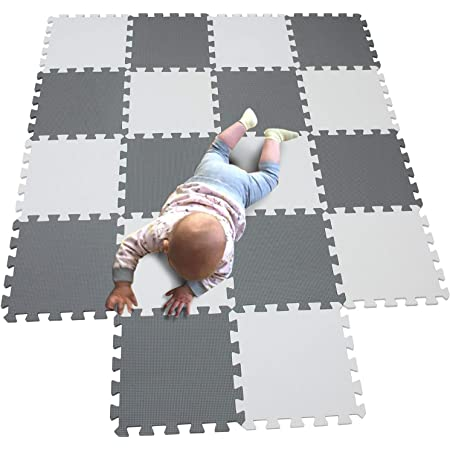 Interlocking Floor Mats for Children Multicoloured Foam Soft Kids Baby EVA Foam Activity Play Mat Floor Tiles Gym Exercise Yoga mat Beige Gray R10R12G301020 YIMINYUER Foam Play Mat Tiles