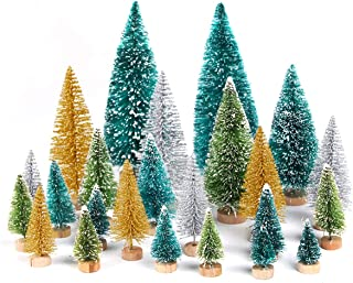 QIFU Mini Christmas Trees Bottle Brush Trees Sisal Snow Frost Trees Tabletop Trees with Wood Base for Christmas Decoration Home Decoration DIY Room Decor Diorama Models