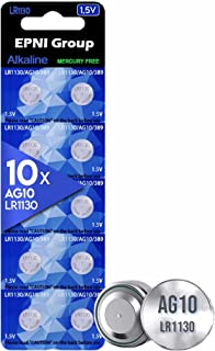 EPNI Group 10PCS LR1130 AG10 Battery 1.5V Alkaline Button Cell Batteries for Watch, GLUCOMETER, Key FOBS, Small Electronic...