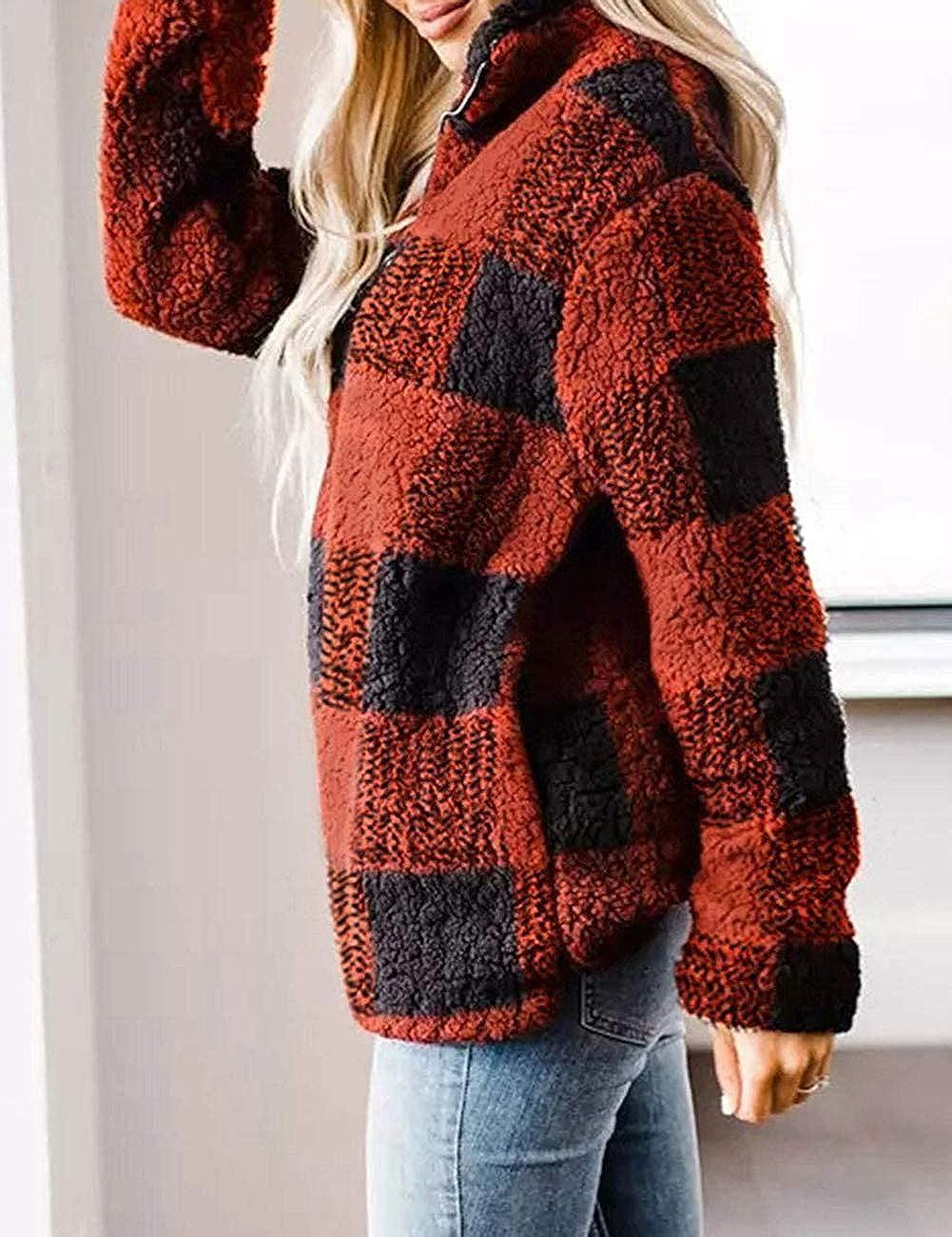 MEROKEETY Womens Plaid Sherpa Fleece Zip Sweatshirt Long Sleeve Pockets Pullover Jacket