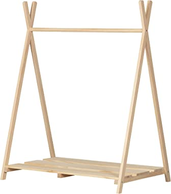 South Shore Sweedi Scandinavian Clothes Rack for Kids-Natural Pine