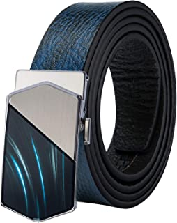 Dubulle Mens Ratchet Belt,Genuine Leather Mens Sliding Automatic Buckle Luxury Dress Belt