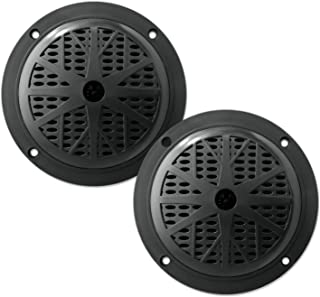 5.25 Inch Dual Marine Speakers - 2 Way Waterproof and Weather Resistant Outdoor Audio Stereo Sound System with 100 Watt Power, Polypropylene Cone and Cloth Surround - 1 Pair - PLMR51B (Black)