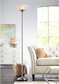 Maddox Modern Torchiere Floor Lamp Tall Satin Nickel Slim Profile Alabaster Glass Shade for Living Room Bedroom Uplight - 360 Lighting