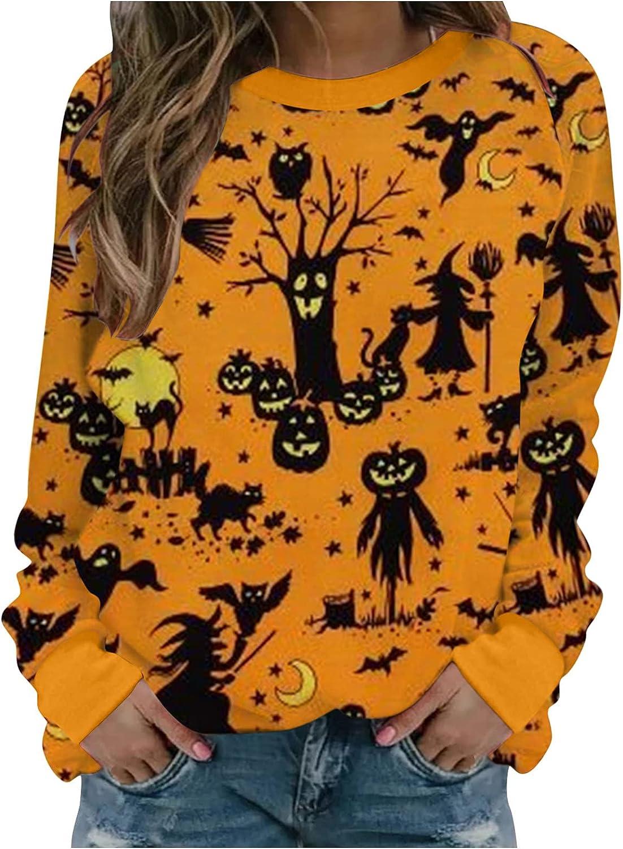Sweatshirts for Women,Womens Halloween Fashion Pumpkin Bats Graphic Long Sleeve Crewneck Pullover Tops Sweaters Shirts