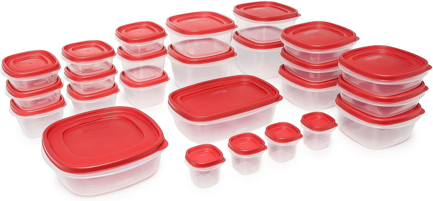 50-piece Special Campaign Fort Worth Mall rubbermaid Plastic Easy Find Food Lid Set Storage