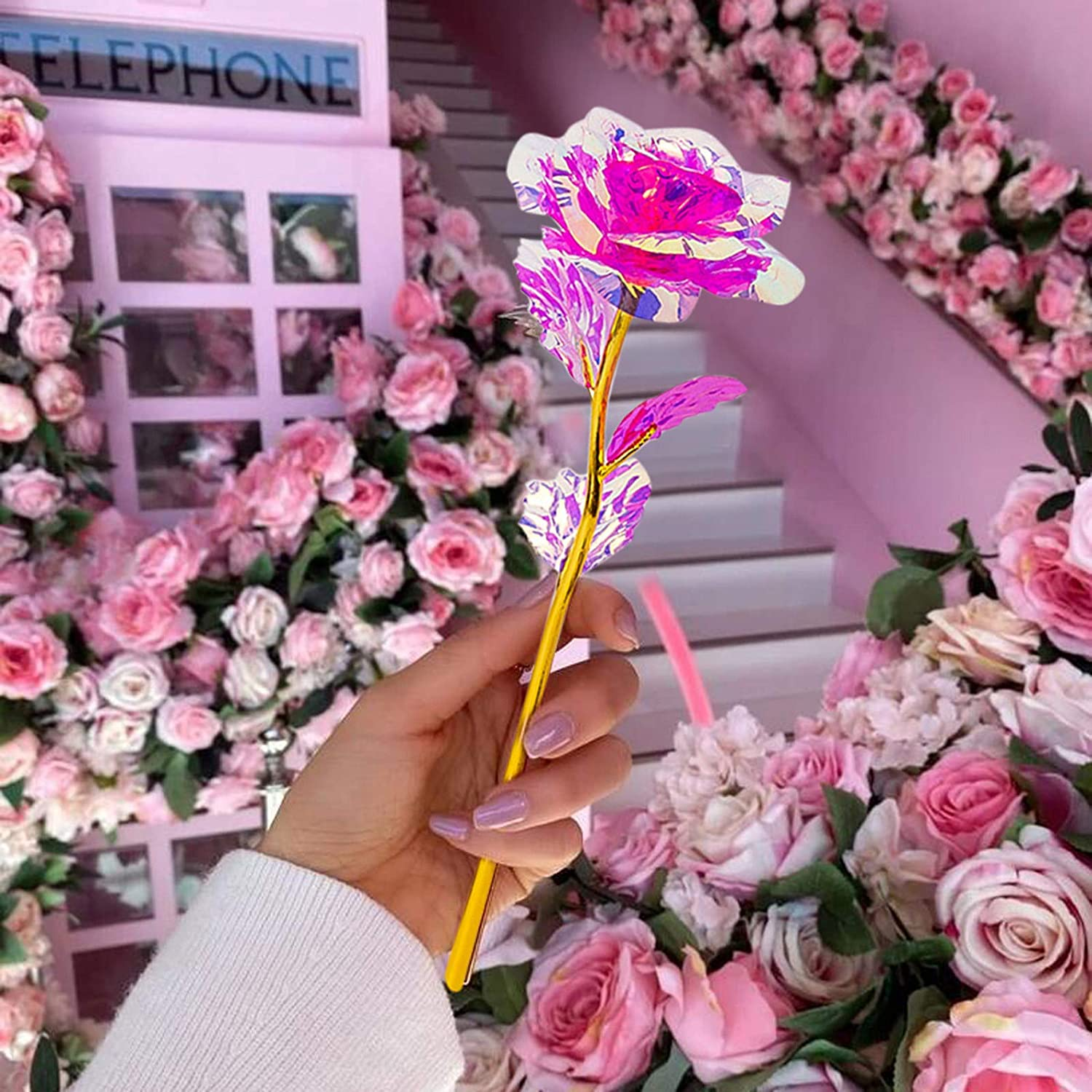 Valentines Day Wife 5-pack 24K Colorful Rose Artificial Flower Golden Plated Rose Home Decoration Luxury Gift for Her Birthday Women Anniversary Christmas Mothers Day Wedding Girlfriend